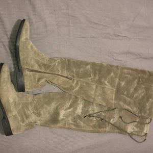 Tan suede thigh high boots size 9, barley worn